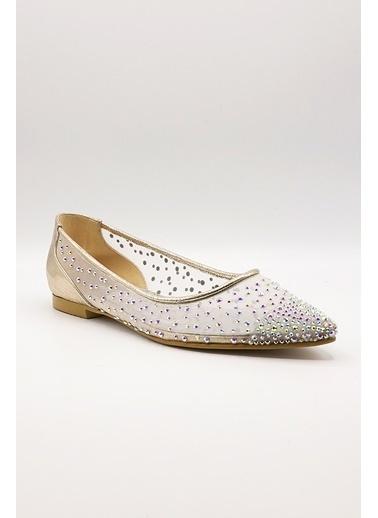 La scada Mr5351 Platın Kadın Babet Ayakkabı Altın
